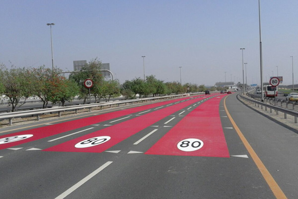 Evonik's Degaroute road markings visible on a section of the Dubai-Al Ain road.