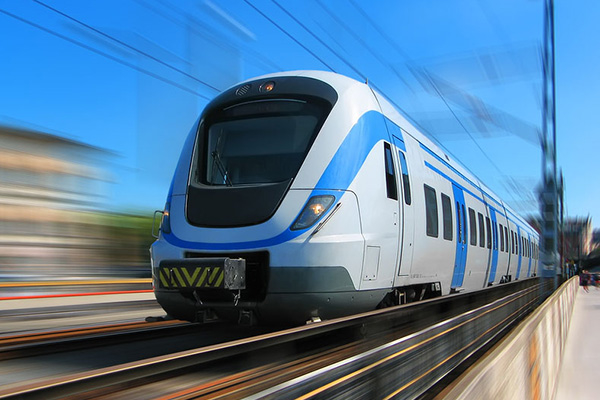 A high-speed train-illustrative image only.