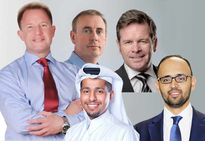 Circulating clockwise from left: Edd Brookes; Peter Murphy, Martin Hayes, Mihir Shah and Sheikh soud Al Thani. ,