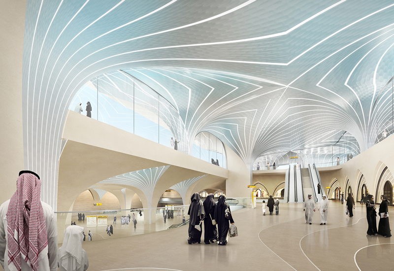 Artist's impression of one of the staions along the Doha Metro.