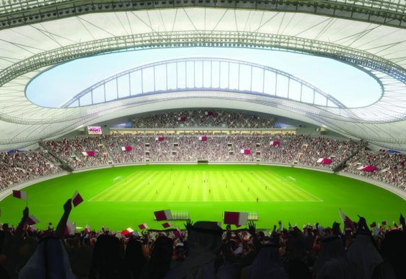 A computer-generated image of the iconic Khalifa International Stadium.
