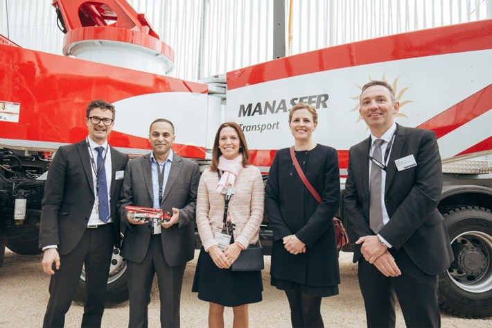 L-R: Abdul Hakim Al Manaseer, Markus Müller, board member of Liebherr Export, Sophie Albrecht and Patricia Rüf, associates of the third generation of shareholders, and Mark Figel, MD of Liebherr-Mischtechnik.