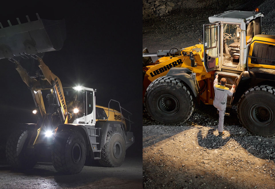 Left: the additional front LED headlight lights the ground when the bucket is raised; right: a remote control key automatically lights the cabin interior and entry area.