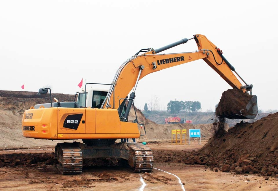 A Liebherr R922 crawler excavator being used for earthmoving works at the Meibei Lake construction project close to the city of Xi'an.