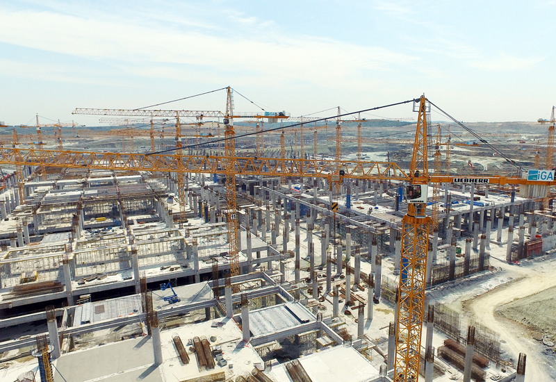 Only the presence of a vast fleet of cranes on the Istanbul New Airport project site is capable of  facilitating the lifting demands of the simultaneous build-up of the whole area.