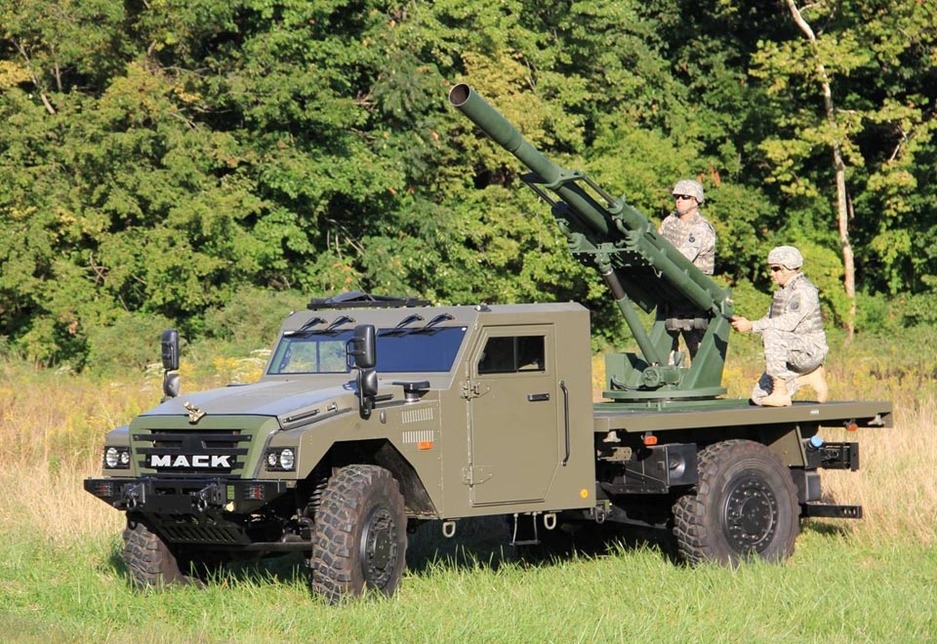 A Mack-branded Sherpa military vehicle manufactured by Volvo Group for defense applications.