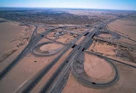 An aerial view of a Qatar road complex.