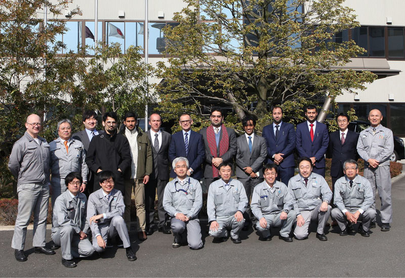The delegation of Civil Defense engineers sent to Japan on a business tour to observe fire-resistant materials for use on the metro system in Doha.