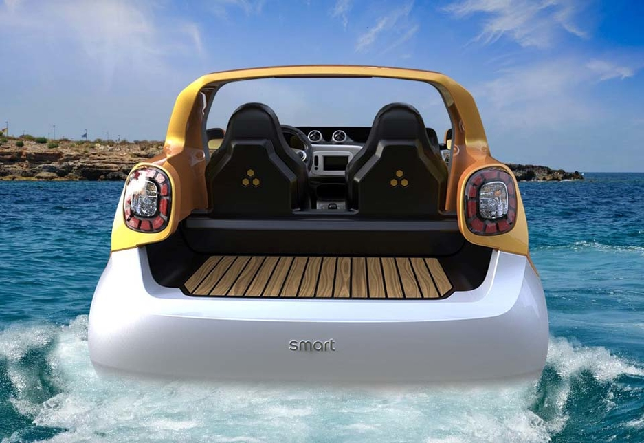 The Smart forsea concept car is an open boat at the back, and was inspired by the classic lobster boat.