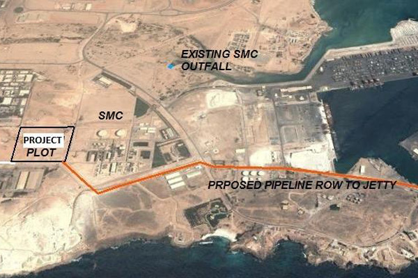 A satellite image of the location of Salalah Methanol Company.