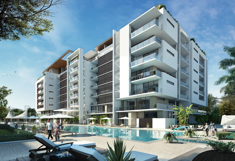 Sobha Hartland Greens includes eight floors of residential apartments varying from studios, to one, two and three bedrooms.