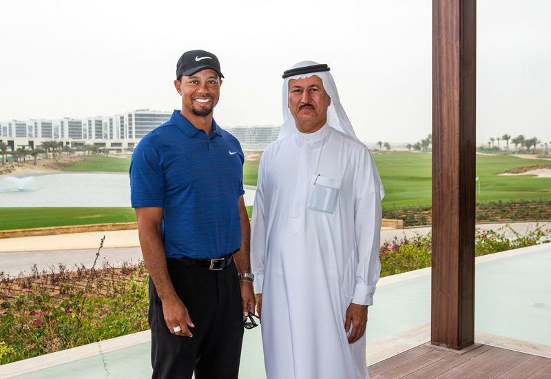 Tiger Woods visits  AKOYA Oxygen golf course in Dubai.