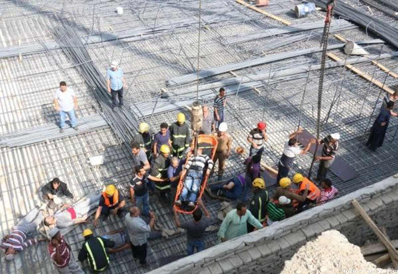 Rescue units are working to extract the workers safely from the site. [Image courtesy: Al-Riyadh]