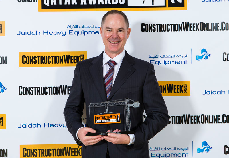Simon Elleray from Brookfield Multiplex Medgulf beams with his trophy.