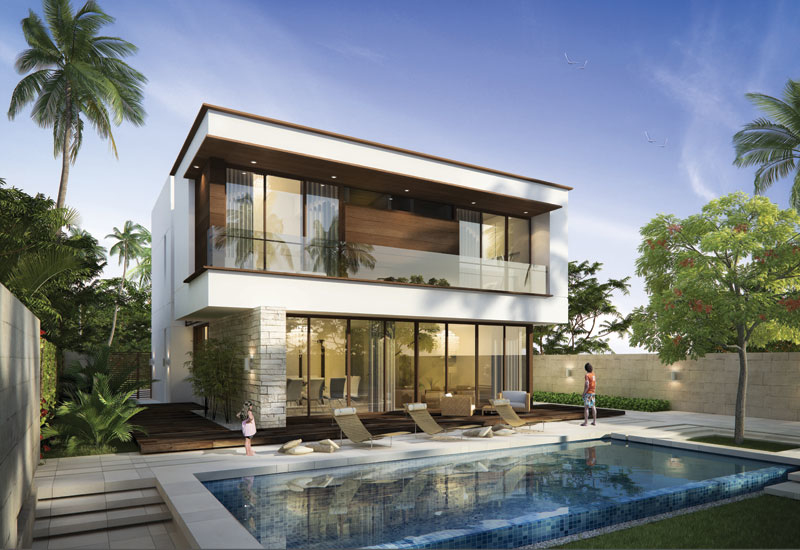 Akoya Park villas set in the 4.3mn ft2 private park.