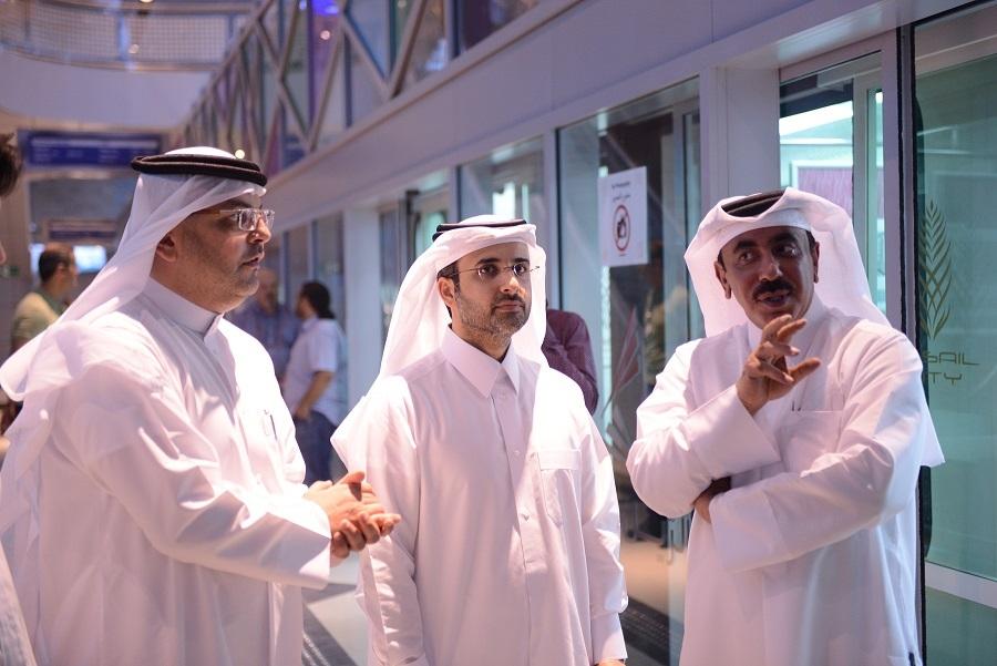 L-R: Qatar Rail CEO Saad Al Muhannadi, MD Eng. Abdulla Abdulaziz Al Subaie and Minister of Transport HE Jassim Saif Ahmed Al Sulaiti.
