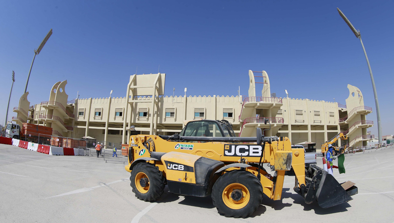 A machine moves in to begin demolition of the existing Al Rayyan stadium