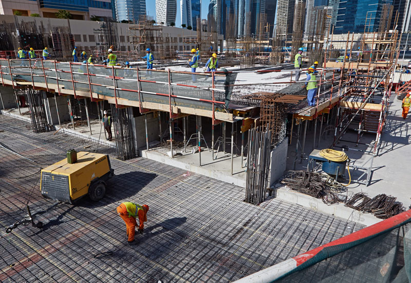 There are currently 380 workers at The Atria construction site in Business Bay, Dubai.