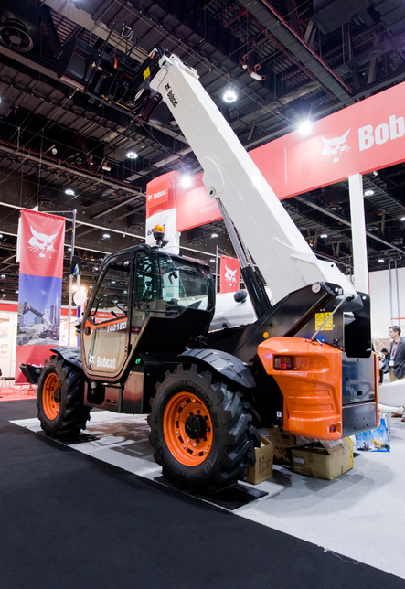 Kanoo Machinery showcases the brand new Bobcat T40180 telescopic handler at INTERMAT Middle East 2014.