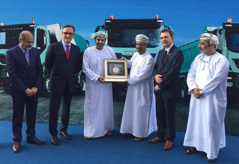 L-R: Divyendu Kumar, MD of Suhail Bahwan Automobiles; Luca Sra, MEA head at Iveco; Sheikh Ahmed Suhail Bahwan, MD of Suhail Bahwan Group; a Galfar representative; and, Pierre Lahutte, Iveco brand president.