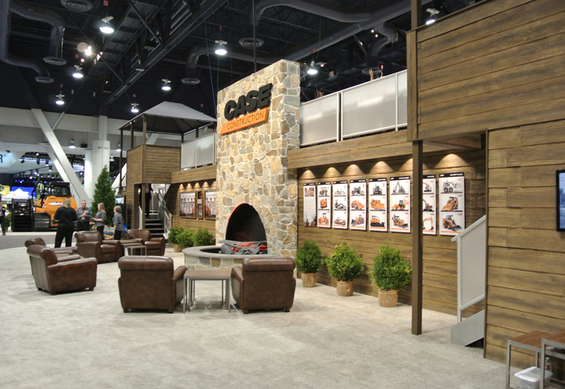 Case chose a traditional log cabin aesthetic to combat the hustle and bustle of the Las Vegas show.
