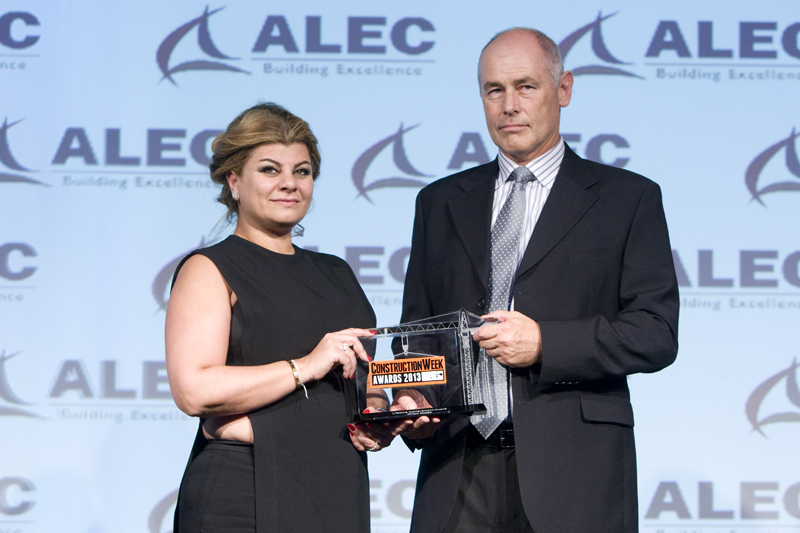 Dana Haddad collects the award on behalf of her father from Hercu Vlijoen, managing director Related Business for Alec.