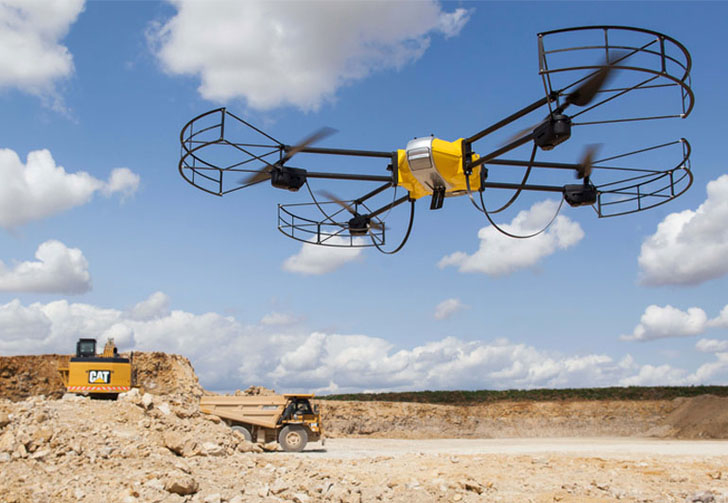 A Caterpillar UAV surveys a site.