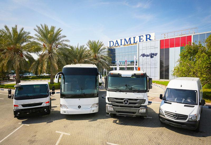 L-R: a Fuso light truck, Mercedes-Benz Setra bus, Mercedes-Benz Actros heavy-duty truck and Mercedes-Benz Citan city van.