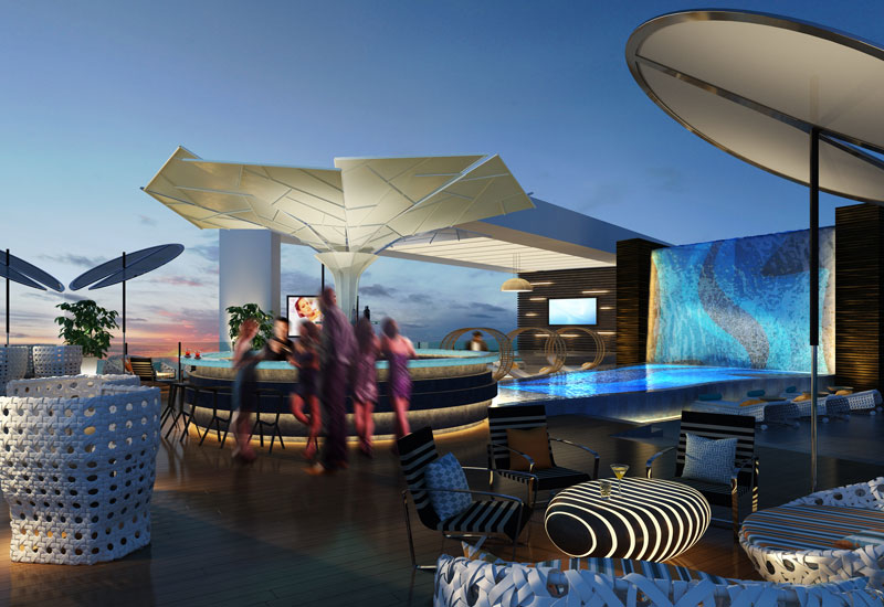 Image of the pool deck area of the new DoubleTree by Hilton Suites Doha
