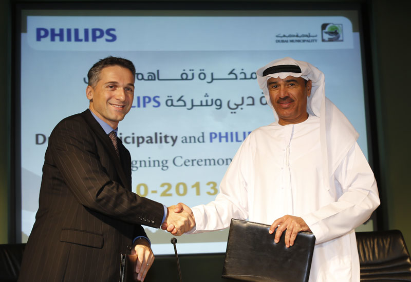 Eric Rondolat, chief executive officer, Philips Lighting, and Eng. Hussain Nasser Lootah, director general of Dubai Municipality