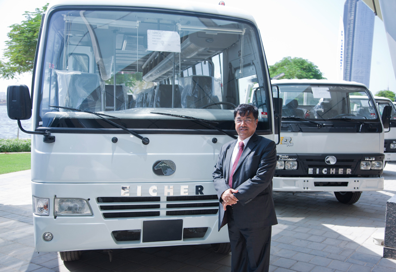 VE Commercial Vehicles' Arun Kumar Birla is photographed in front of an Eicher Skyline 10.75 bus at the launch of Pacific Machinery in Dubai, UAE.