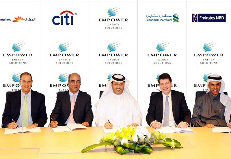 Empower CEO Ahmed Bin Shafar (centre) with representatives from Mashreq, Citi Bank, Standard Chartered and Emirates NBD