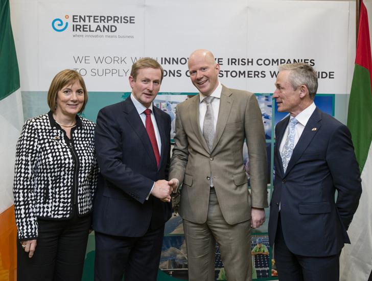 Julie Sinnamon,  CEO Enterprise Ireland, Enda Kenny, Taoiseach, Ireland, Ben Churchill, CEO, Emrill and Richard Bruton T.D., Minister for Jobs, Enterp