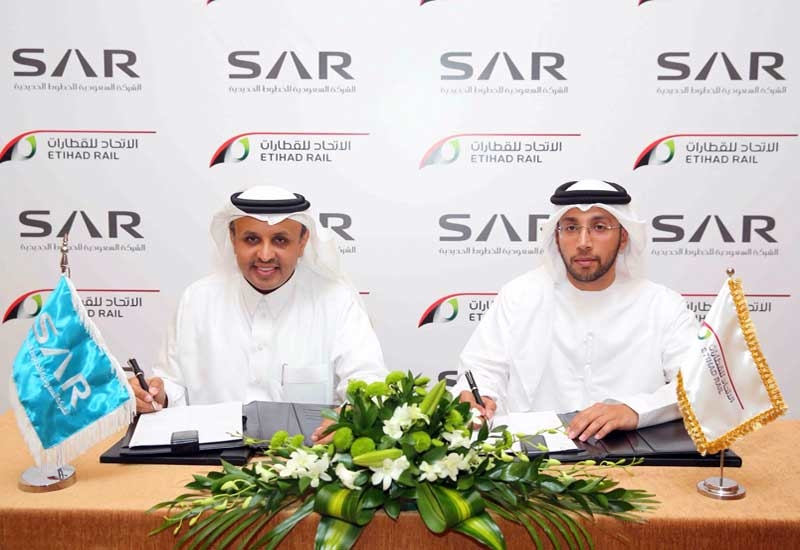 AR's CEO Dr. Rumaih bin Muhammad Al Rumaih (left) and Etihad Rail's acting CEO Eng Faris Saif Al Mazrouei.