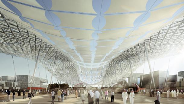 Artist's impression of Expo 2020 village