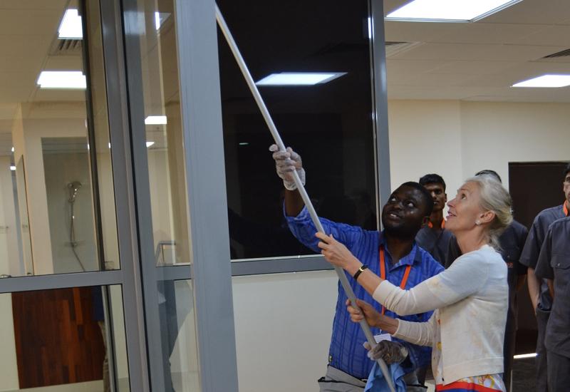 H.E. Andrea Reichlin, Swiss ambassador to the UAE, tours Farnek's new training facility in Dubai.