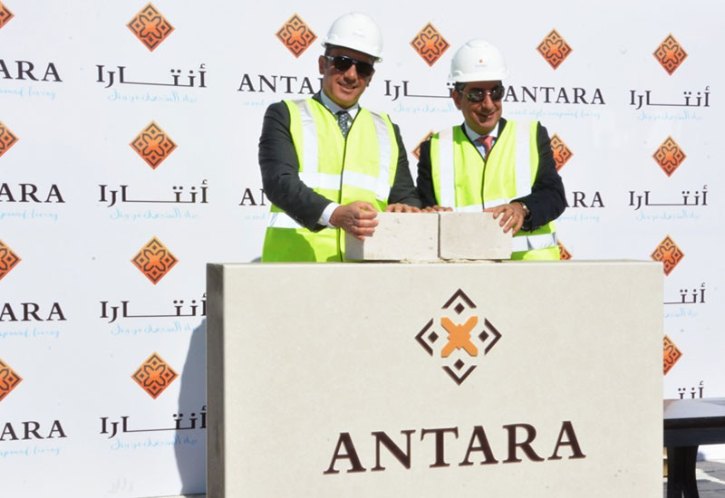 Gulf Related executive director Raja Alameddine (left) and managing director Emile Habib lay the cornerstone