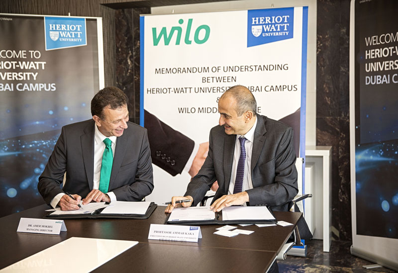 As part of the MoU, Heriot-Watt's Mechanical Engineering Laboratory will be renamed the Wilo Pump Laboratory.