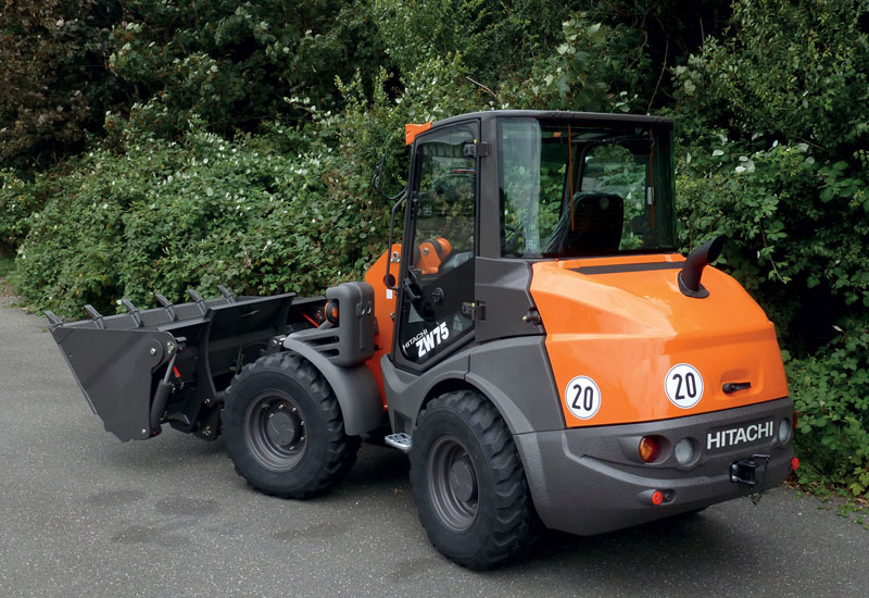 Hitachi's ZW75 compact articulated wheeled loader.