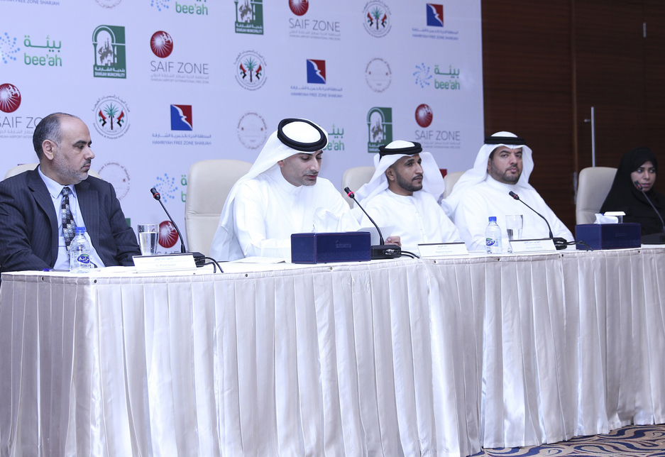 Khaled Al Huraimel, Group CEO at Bee'ah, announcing the launch of the Ambient Air Quality Monitoring network.