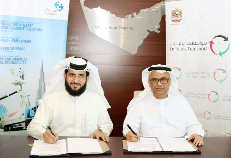 Jamal Abdullah Lootah, CEO of Imdaad (left), and Mohammed Abdullah Al Jarman, general manager of Emirates Transport (right).