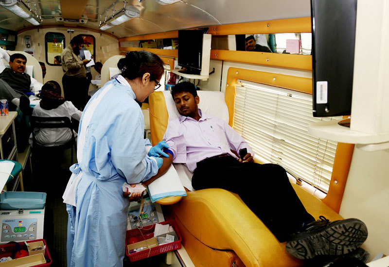 The blood donations were handed over to the Latifa Hospital in Dubai.
