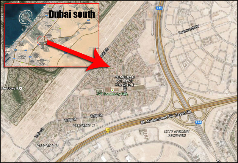 An aerial map showing the location of Jumeirah Village Triangle in relation to Dubai.