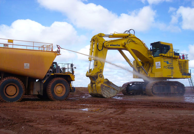 Komatsu PC4000 gets hosed down in Tanzania.
