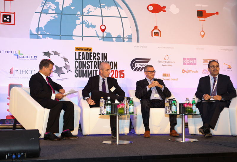 Left to right: Wael Allan, Arcadis; Campell Gray, Faithful+Gould; Melvyn Ford, Hill International; and, Yaver Abidi, Ramboll Middle East, at Leaders i