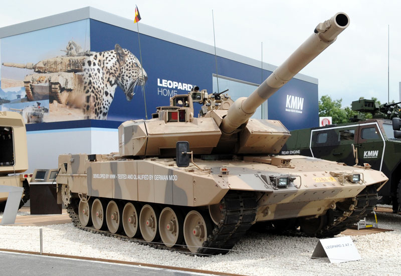 A Leopard 2 A7 presented by Krauss-Maffei Wegmann (KMW) at the Eurosatory defence and security exhibition.