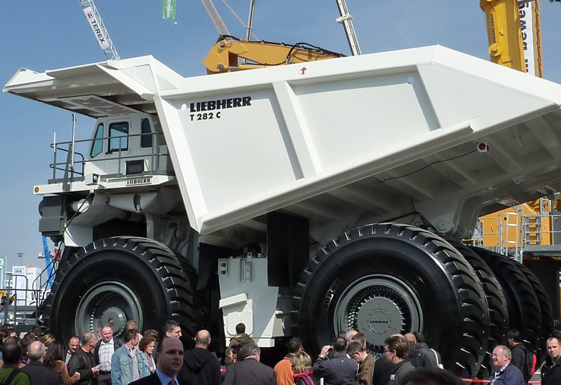 Liebherr mining trucks stand nine metres tall and have a carrying capacity of 360 tonnes.
