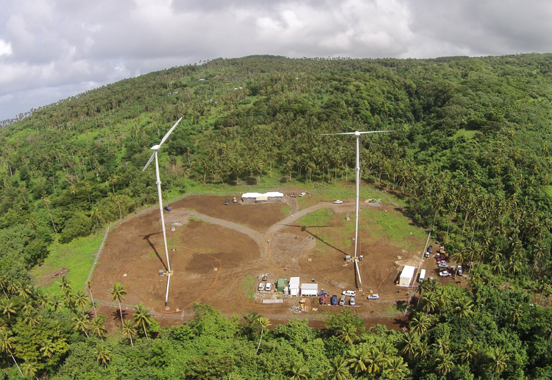 Aerial view of Samoa's first wind farm, delivered by Masdar.