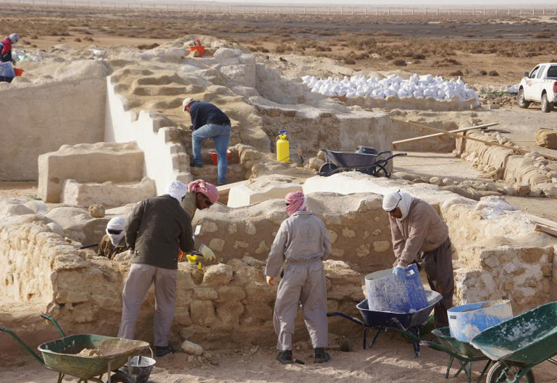 Conservation work on excavated remains in Al Zubarah, Qatar (Image: University of Copenhagen)