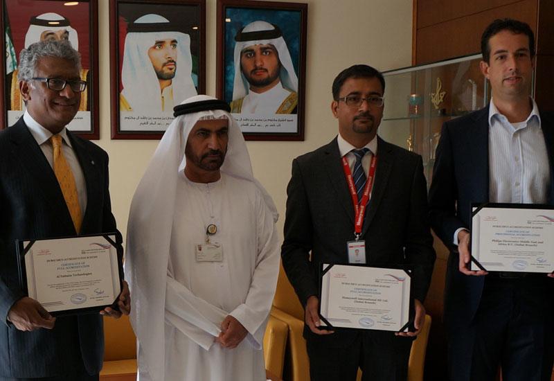 HE Ali bin Abdullah Al Owais, chairman of the RSB, presented certificates of accreditation to Al Futtaim Technologies, Honeywell and Philips Lighting.